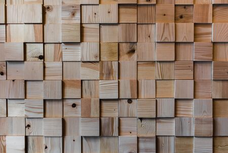Wooden squared floor texture. Interesing patterns close up. Stock Photo