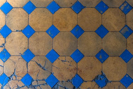 lath in modern: Old mosaic floor close up. Stock Photo