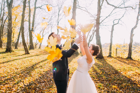 The married couple throw up maple leaves in the autumn forest, park.