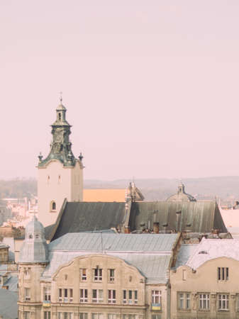 lemberg: Cityscape with old buildings. Bell tower of Latin Cathedral in Lviv, Ukraine. Stock Photo