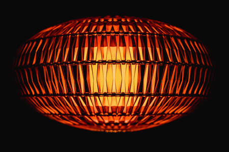 minutiae: red background and structure of a red warning lamp close up. Stock Photo