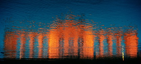 superb: Superb sunset with water reflection in Mone painting concept. Stock Photo