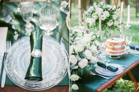 Collage Fotos von den Hochzeitstisch im rustikalen Stil Einstellung.
