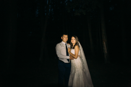 adorning: Adorning elegant fashion groom and bride embracing looking at camera on the night background.