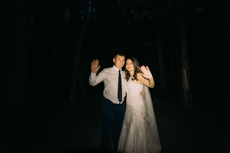 adorning: Adorning elegant fashion groom and bride waving their hands at the viewer on the night background.