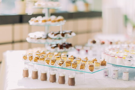 Dessert buffet with delicious sweet bakery and coffee-shakes.
