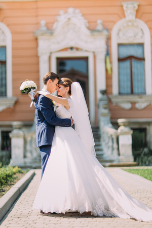 a newly married couple: Newly married couple posing in sunny park at alley. Groom is holding elegant bride on his hands. Vintage building as background. Stock Photo