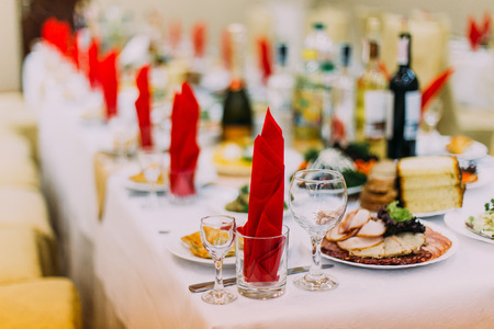 Restourant table luxuriously served for formal dinner. Stock Photo