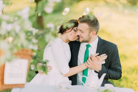 picknic: Romantic picknic in park. Bride leaning to grooms shoulder when drinking tea under tree, decorated with small glass lanterns. Stock Photo