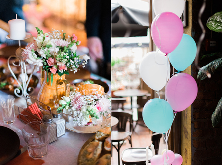 Wedding Decorations Collage With Balloons Sweets And Candles
