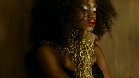 Luxurious portrait of sexy african american female model with glossy golden makeup posing to the camera on the textured studio background.