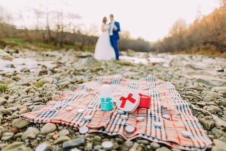 picknick: Romantic young bridal pair drinking wine on rocky pebble river bank with forest hills and stream as background. Stock Photo
