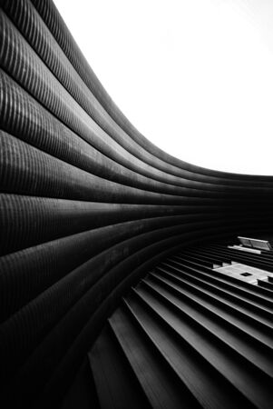 Modern abstract in architectural shapes. Black and white shot.