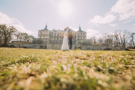 fiancee: Attractive newlywed couple embracing at green sunny lawn near beautiful ruined baroque palace. Loving groom and charming bride touching by foreheads.