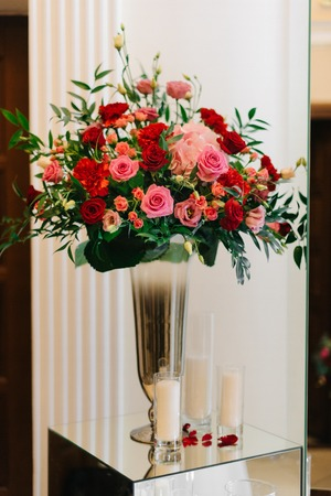 Rose Bouquet Stands In High Vase On Glass Box Stock Photo Picture