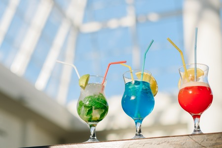 Colorful cocktails in the sunlight Stock Photo