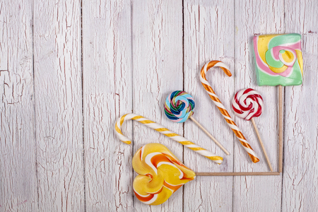 Colorful spiral lollipop isolated on white background Stock Photo