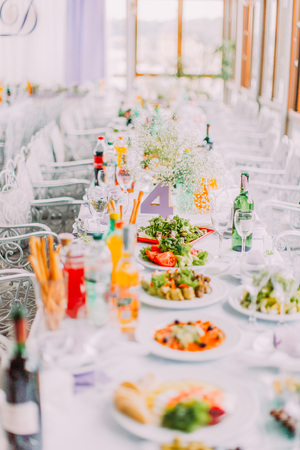 The wedding table set covered with different salads.