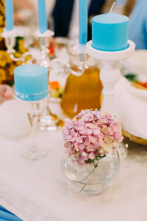 Lovely Mini Vase With Little Pink Flowers On The Wedding Table