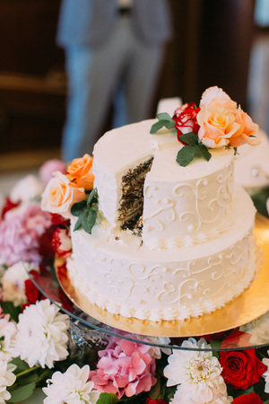 Lovely wedding cake decorated with colourful roses
