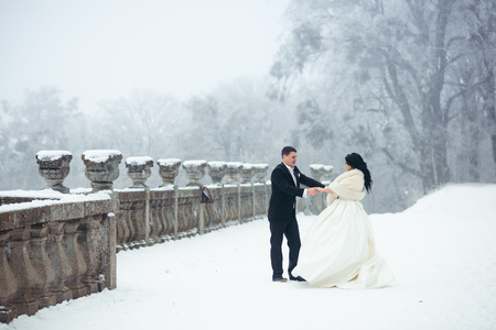 Dancing happy newlywed couple on the snowy path. Full-length shot.