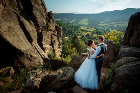 Above romantic portrait of the newlyweds. The handsome groom softly stroking the cheek of the bride while standing on the mountains at the background of the beautiful landscape of forests and fields. Stock Photo