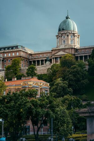 View of the nature in Budapest, Hungary. The Statue of Prince Eugene Savoy in the countryard at Buda Castle Royal Palace.