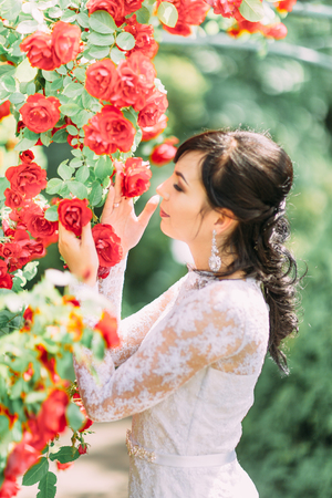 The side portrait of the bride touching and smelling red roses.