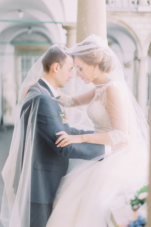 Half-length portrait of the happy newlyweds standing head-to-head under the veil. Stok Fotoğraf