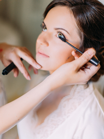 Side close-up portrait of the makeup artist doing the makeup for the happy bride.