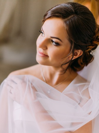 The lovely portrait of the beautiful bride covered with lace looking aside.