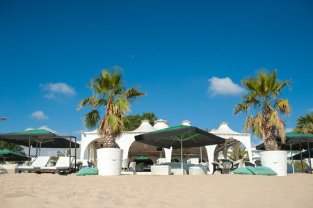 Tropical beach cafe Stock Photo