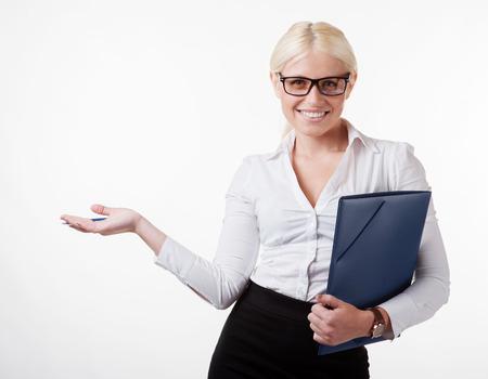 Portrait of wearing glasses businesswoman