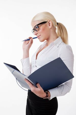Thoughtful young business woman