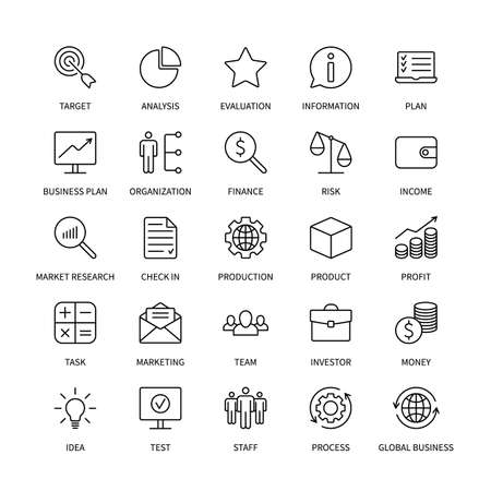 Business line icons organization product money commerce analysis bank contact social media technology logistics search idea income marketing time team investor vector symbols set