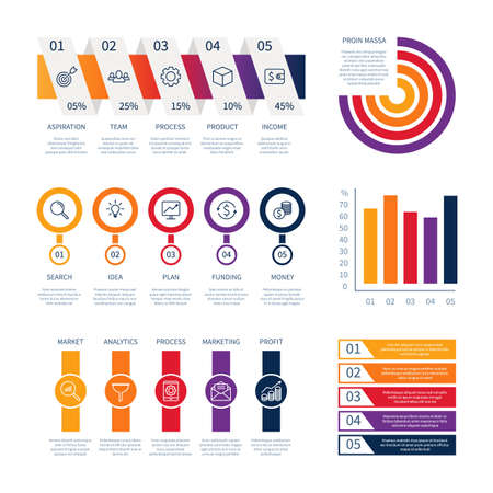 Data business infographic dashboard chart control panel analysis currency line icons money sign symbols financial info chart timeline vector infographics