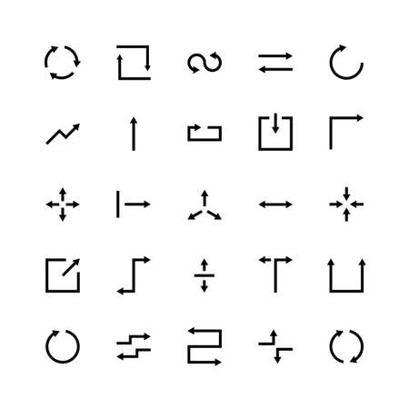 Arrow silhouette icons set arrow website app line stroke business analysis contact social marketing time vector symbols set