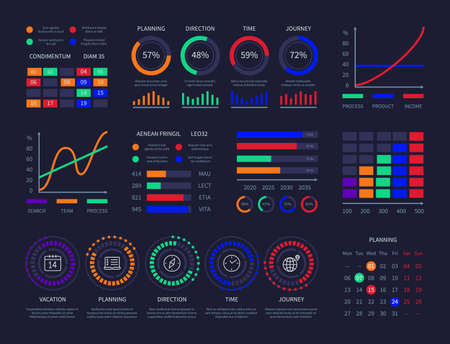 Modern graphic data chart infographic dashboard design template info charts network management interface diagrams analysis information vector infographics