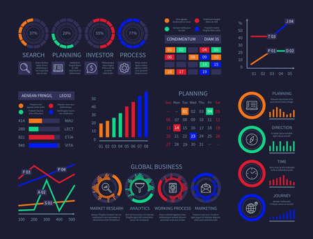 Modern infographic hud timeline statistics finance charts information visualization illustration data analysis research planning statistics management vector infographics