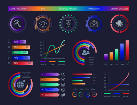 Technology hud vector infographic diagrams digital illustration graphic data chart dashboard design template info charts network management interface diagram analysis information vector infographics
