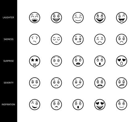 Emoticons line icons face emotion expression linear symbols illustration emoji smiley cartoon character mood laughter surprise sadness severity reaction vector set