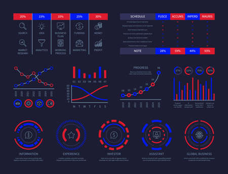 Dashboard infographic hud chart connection analysis illustration data perspective business strategy process vector infographics