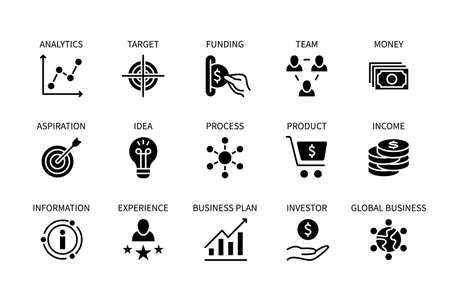 Business and finance, vector set of silhouette icons. Business management. Idea, planning, experience, product, money and more. Isolated collection of business symbols for websites. Editable stroke. Vektorgrafik