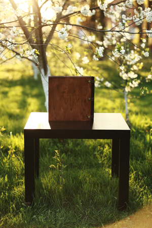 wooden photobook on the table