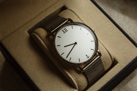luxury mens watch in a gift box. Accessories for a businessman.