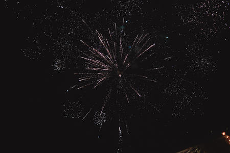 Colorful fireworks on the black sky background Imagens