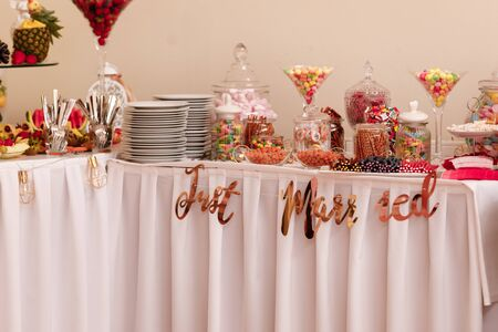 Candy bar. Table with sweets, candies, dessert. selective focus Stock Photo