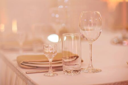 Close up picture of empty glasses in restaurant. Selective focus.empty glasses on the table. Stok Fotoğraf