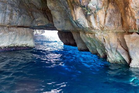 beautiful view of the rock in the sea in Malta. water of turquoise and blue.