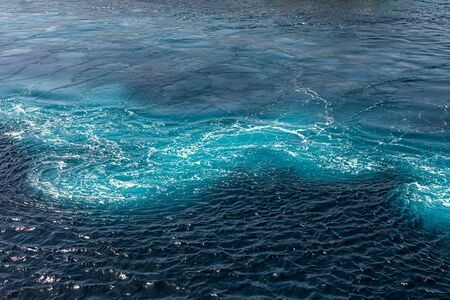 blue sea background with interesting waves. Seething Mediterranean sea water, top view in the open sea. blue seascape. 版權商用圖片